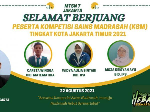 3 Peserta Didik MTsN 7 Jakarta Berjuang pada Kompetisi Sains Madrasah Tingkat Kota